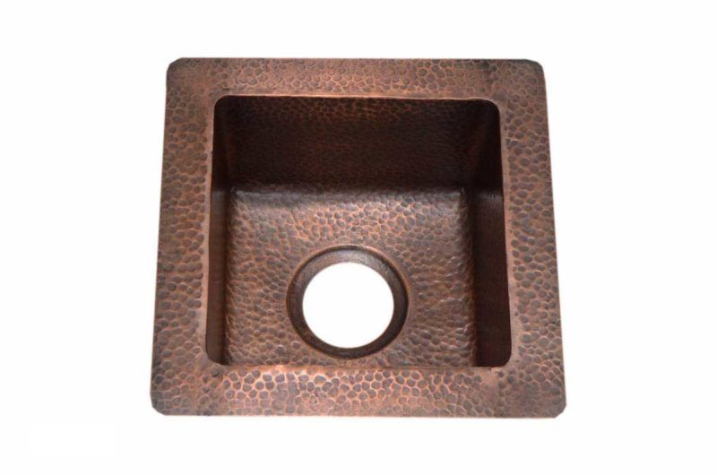 Copper Kitchen Sink 1212_RR - Dimensions: outside L 14 in. x W 14 in. x D 6 in. inside L 10-1/4 in. x W 10-1/4 in. x D 6 in.