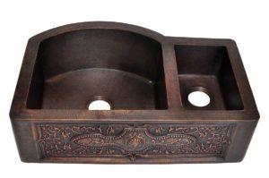 Copper Kitchen Sink 1512_FL - Dimensions: L 33 in. x W 22 in. x D 9-1/2 in.