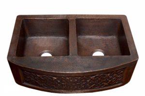 Copper Kitchen Sink 1524_F - Dimensions: L 33 in. x W 22 in. x D 9 / 6 in.