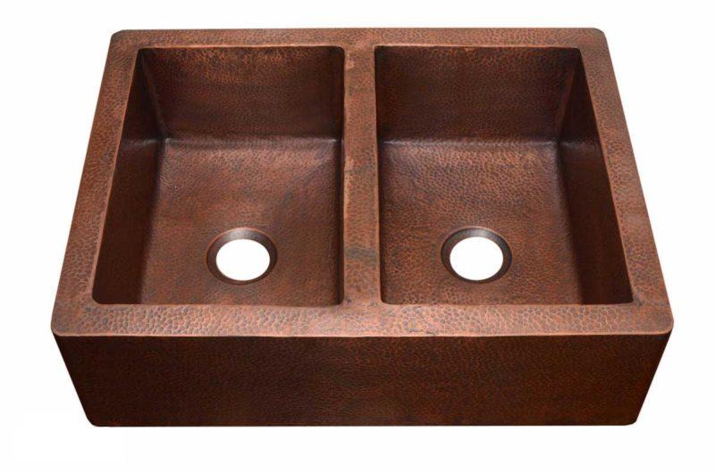 Copper Kitchen Sink 1551_H - Dimensions: L 33 in. x W 22 in. x D 9-1/2 in.