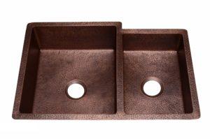 Copper Kitchen Sink 1553_CF - Dimensions: L 33 in. x W 22 in. x D 9-1/2 in.