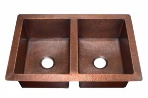 Copper Kitchen Sink 1553_H - Dimensions: L 33 in. x W 22 in. x D 9-1/2 in.
