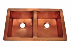 Copper Kitchen Sink 1553_H - Dimensions: L 33 in. x W 22 in. x D 9-1/2 in.