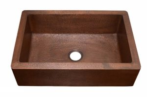 Copper Kitchen Sink 1651_H - Dimensions: L 33 in. x W 22 in. x D 9-1/2 in.