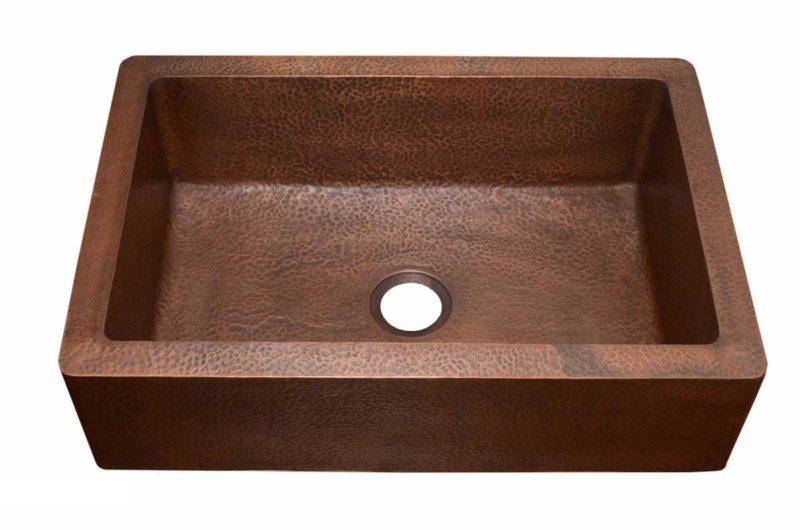 Copper Kitchen Sink 1651_H - Dimensions: L 33 in. x W 22 in. x D 9-1/2 in.