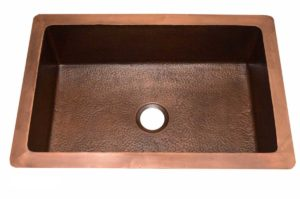 Copper Kitchen Sink 1657_WH - Dimensions: L 33 in. x W 22 in. x D 9-1/2 in.