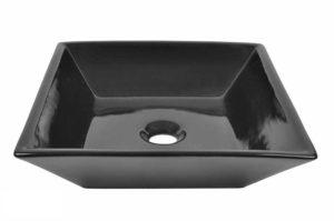 Ceramic Bathroom Sink 6046 Black - Dimensions: L 16-1/4 in. x W 16-1/4 in. x D 4-1/2 in.