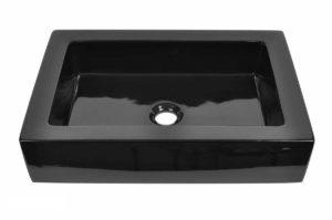 Ceramic Bathroom Sink 6066 Black - Dimensions: L 18 in. x W 18 in. x D 6-1/2 in.