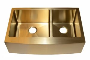 Stainless Steel Kitchen Sink AC2002 Gold Color - Dimensions: L 33 in. x W 20-3/4 in. x D 10 in.