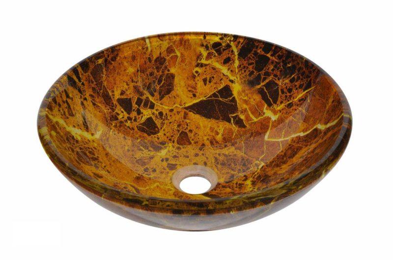 Glass Vessel Bathroom Sink N78 - Radius: L 16 in. x D 5-1/2 in.