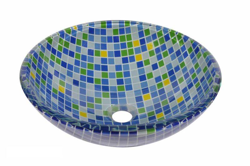 Glass Vessel Bathroom Sink NH27 - Radius: L 16 in. x D 5-1/2 in.