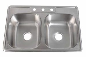 Stainless Steel Kitchen Sink T3322 - Dimensions: L 33 in. x W 22 in. x D 6/7/8/9 in.