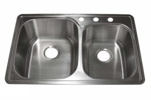 Stainless Steel Kitchen Sink T3322_L - Dimensions: L 33 in. x W 22 in. x D 9/8 in.