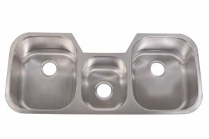 Stainless Steel Kitchen Sink T4321 - Dimensions: L 42-1/4 in. x W 20-1/2 in. x D 9 / 5-1/8 / 9 in.