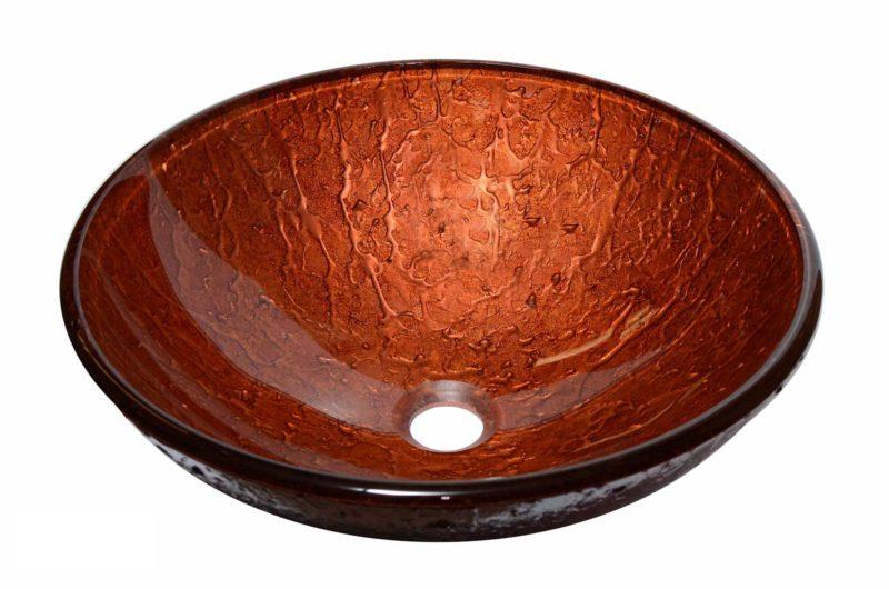 Glass Vessel Bathroom Sink YHH311 - Radius: L 16 in. x D 5-1/2 in.
