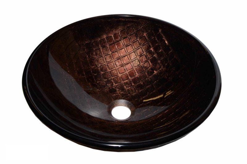 Glass Vessel Bathroom Sink YHH468 - Radius: L 16 in. x D 5-1/2 in.